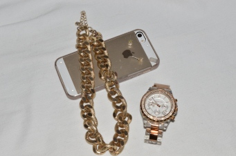 Michael Kors watch, thrifted gold chain, faux diamond studs, and my lifeline